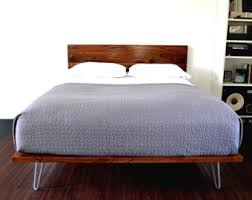 California King Size Platform Bed Frame - platform bed and headboard on hairpin legs california king