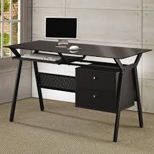desks metal and glass computer desk with two storage drawers with