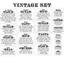 labels for kitchen canisters basics definition vintage font flour sugar oats rice pasta tea