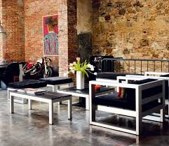 apartments brick wall with harley davidson and modern industrial