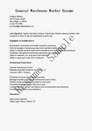 Millwright Resume Sample by Free Sample Resume For Warehouse Worker General Warehouse Worker