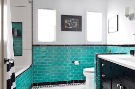Modern Retro Bathroom Aqua Glass Tile Bathrooms Erica Islas Vintage Modern Bath Bathroom