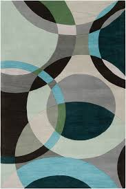 Modern Rugs Direct Surya Forum Fm 7157 Black Olive Teal Green Dove Gray Area Rug