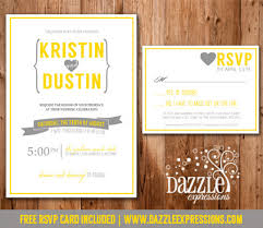 wedding invitations rsvp modern yellow and gray wedding invitation rsvp card included