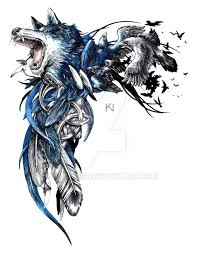 flying and celtic wolf design