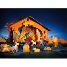 ostheimer 13 piece nativity set stable wooden toy figures
