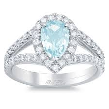 aquamarine and diamond ring pear aquamarine pave diamond split shank halo engagement ring