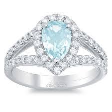 pear aquamarine pave diamond split shank halo engagement ring