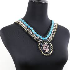 blue beaded necklace images Vintage retro blue seedbead pattern collar necklace comelyjewel JPG