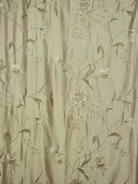 Faux Silk Embroidered Curtains 63 Inch 96 Inch Chagne Embroidered Floral Grommet Faux
