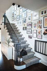gray staircase handrail transitional entrance foyer