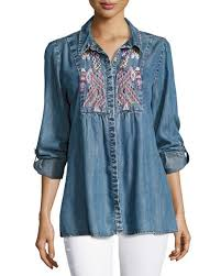 chambray blouse tolani kristy embroidered chambray shirt neiman