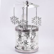 carousel rotary candle holder silver snowflakes