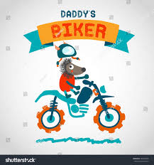 animal motocross helmet cartoon motocross rider cute animal hand stock illustration