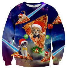 cats pizza sweater