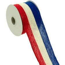 patriotic ribbon 2 5 patriotic stripe jute ribbon white blue 10 yards