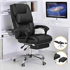 executive office chair high back reclining black leather computer