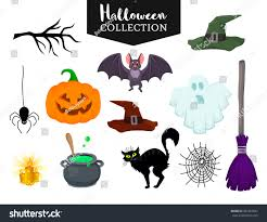 Halloween Banner Clipart by Vector Set Halloween Hand Drawn Cartoon Stock Vector 487422697