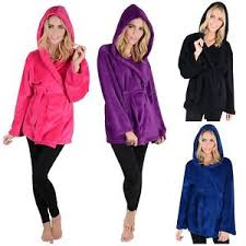 robe de chambre femme courte hooded fleece mini bathrobe womens dressing gown
