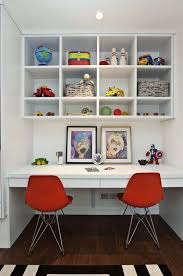 Storing Toys In Living Room - 15 cool shared study spaces for kids shelterness