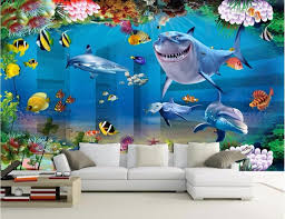 dolphin home decor custom mural photo 3d wallpaper oceanic sharks dolphins home decor