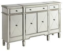 coaster mirror sideboard with wine rack silver transitional