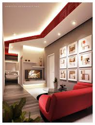 interior brown and red living room decoration theme with red
