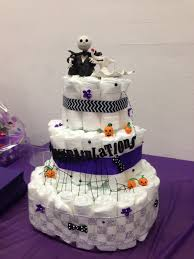 baby shower halloween theme diaper cake made for my nightmare before christmas themed baby