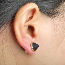magnetic gold stud earrings cone shaped copper magnet earrings studs black enamel earring for