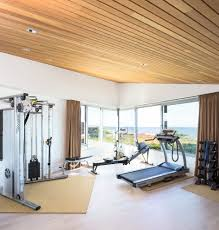 modern home gym ideas home gym contemporary with wood slat ceiling