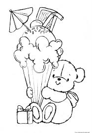 print out teddy bear with birthday ice cream coloring sheetfree