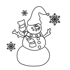 download snowman ans snowflake free winter coloring pages or print