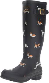 buy boots worldwide shipping joules s v wellyprint wellington boots black blkdog shoes