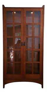 stickley mission collection solid oak display cabinet chairish