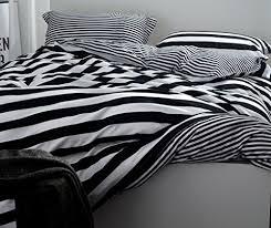 3 piece simple zebra white and black stripes european bedding sets