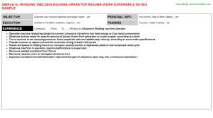 Machine Operator Resume Example by Ultrasonic Welding Machine Operator Resume Sample
