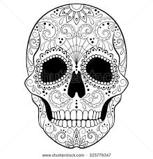 day dead sugar skull detailed floral stock vector 325779347
