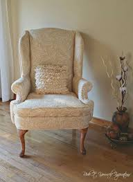 How To Reupholster A Wingback Armchair A Wingback Chair Makeover Hometalk