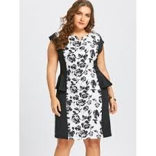 white 7xl plus size notched floral peplum fitted dress rosegal com