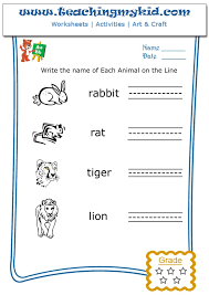 free preschool worksheets write the name of each animal 5