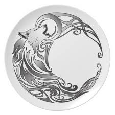 crescent moon designs tribal wolf shaded plates from
