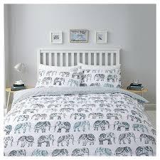 new tesco elephant double duvet set teal grey ebay