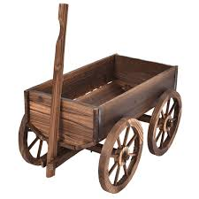 Wagon Wheel Home Decor Amazon Com Wood Wagon Flower Planter Pot Stand W Wheels Home