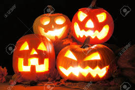 light up jack o lantern group of halloween jack o lanterns lit up at night stock photo
