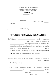 Examples Of Custody Agreements Petition For Legal Separation Legal Form
