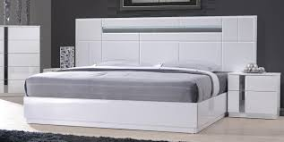 monte carlo king size white lacquer chrome 5pc bedroom set w