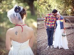 modern retro outdoor wedding ski jacket wedding dress bird cage