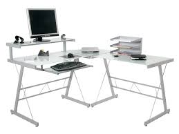 Glass L Shaped Computer Desk by White Glass Desk Image Is Loading Desk Glass Table Top
