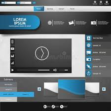 templates for video website template for website eps10 vector with video player stock vector