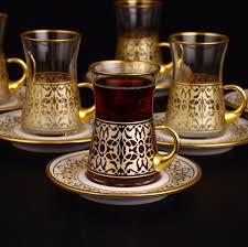 tea set 12 pcs turkish tea set with holder gold color fairturk